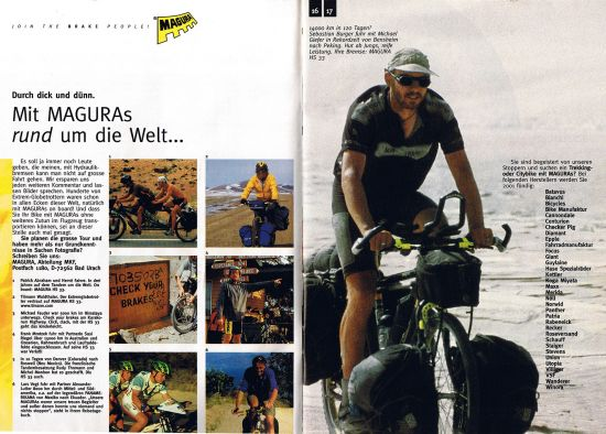 Magura verwendet(e) einige Motive zur Bewerbung in Radmagazinen und eigenen Medien Magura used some motives in bicycle Magazines and their own katalogues